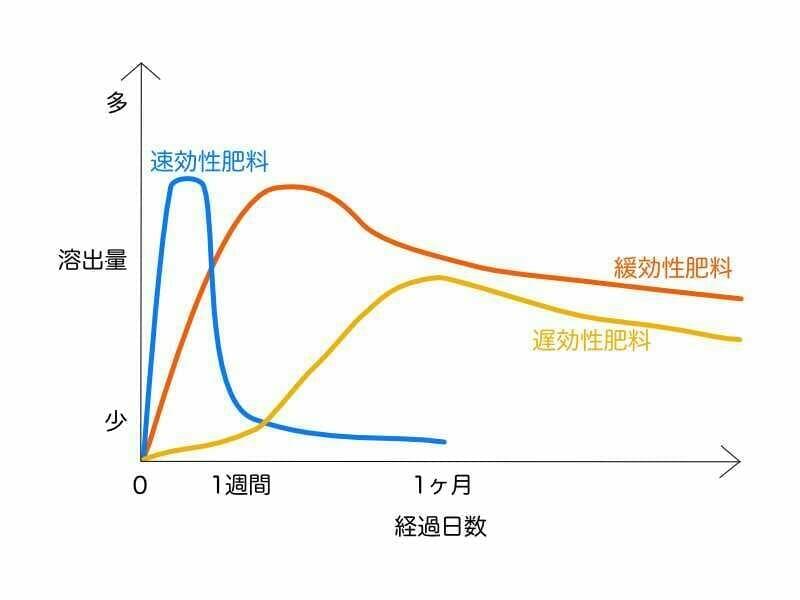 速効性肥料と緩効性肥料、遅効性肥料の効き方の違いのイメージ