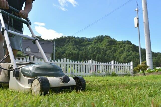電動芝刈り機での作業中の写真