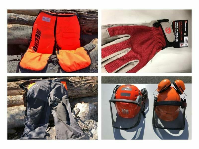 チェンソー作業時の防護服と保護具の写真