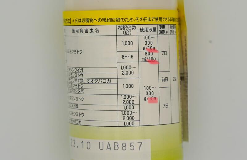 農薬の入れ物に添付されている説明書(適用作物、適用害虫名、希釈倍率などが記載されている)