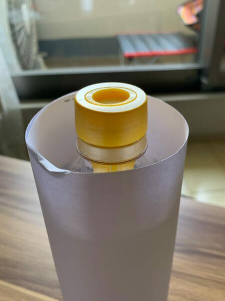 ペットボトル栽培のキットを装着したペットボトルの画像です。