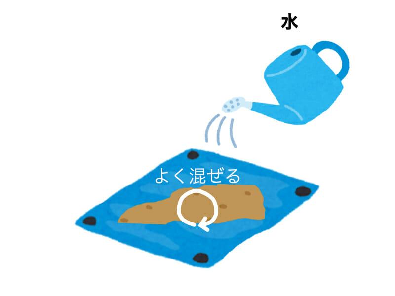 米ぬかぼかし肥料を作る手順を示したイラストです。手順2:水をジョウロなどで注ぎながらかき混ぜます。
