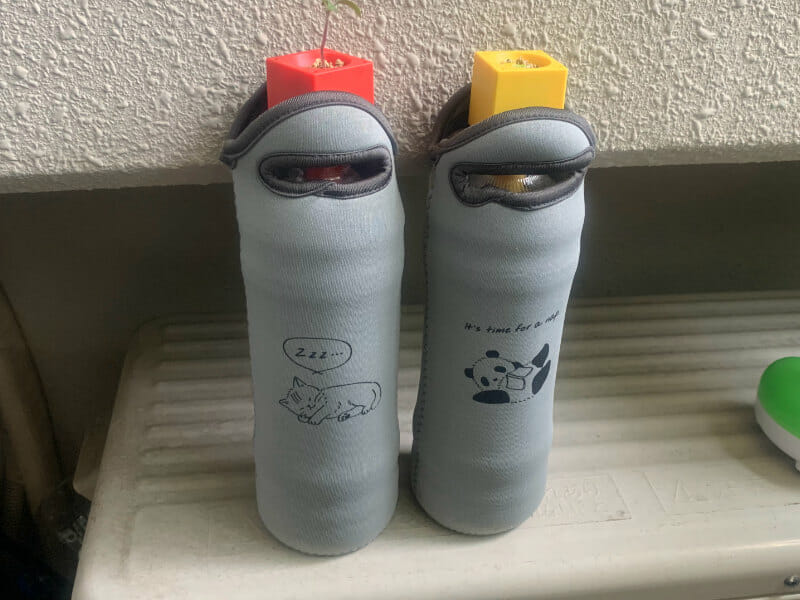 ペットボトル栽培におけるペットボトルカバーの活用方法を示した画像です。藻の繁殖などを防ぎます。