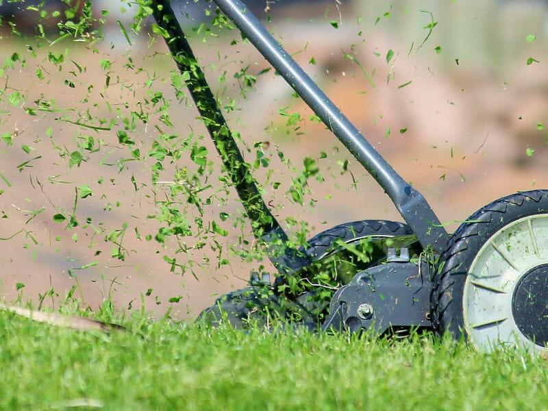 手動芝刈り機で刈り上げをしている画像です。